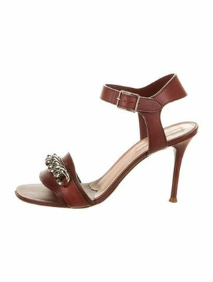 Celine Leather Chain-Link Accents Sandals Red