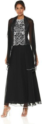 J Kara Women's Scallop Long Beaded Dress W/Scarf