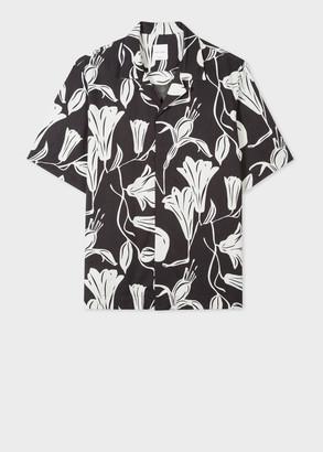 Men's Tailored-Fit Black 'Floral Cutout' Short-Sleeve Shirt