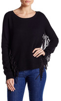Lucy Paris Long Sleeve Faux Suede Fringe Sweater