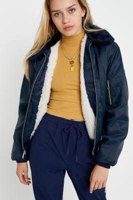 Urban Renewal Vintage Salvaged Deadstock Navy Sherpa-Lined CWU Jacket - blue M at Urban Outfitters