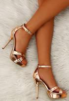 Pink Boutique Game of Chromes Rose Gold Peep Toe Platform Heels