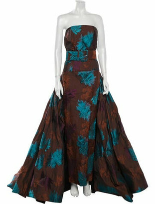 Christian Siriano Floral Print Long Dress Brown