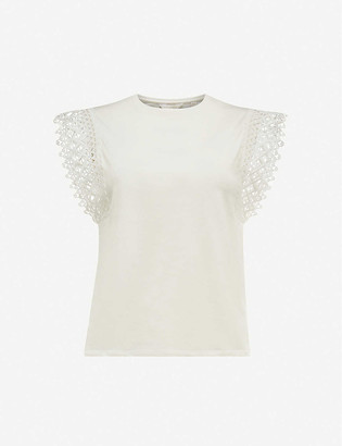 Ted Baker Lace-sleeve cotton top