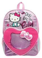 """Hello Kitty 16"""" Kids' Backpack with See Through Heart Pocket - Pink"""