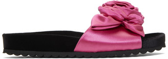 Miu Miu Black and PInk Satin and Velvet Rose Sandals