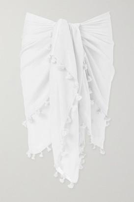 Melissa Odabash Pompom-embellished Cotton And Silk-blend Gauze Pareo - White