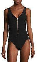 Karla Colletto Swim Delphine Zippered One-Piece Swimsuit