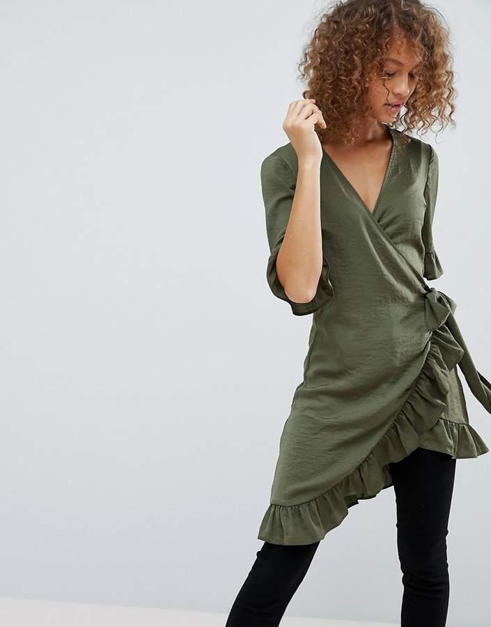 Asos Design Longline Wrap Top with Ruffle