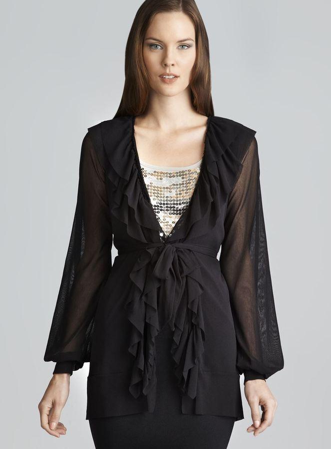 Jean Paul Gaultier Soleil Black Mesh Ruffle Jacket