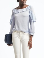 Banana Republic Easy Care Satin Ruffle Blouse