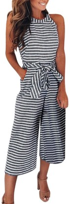 TIFIY Halloween Pants Women/Ladies/Girls Fashion Linen Striped Sleeveless Jumpsuits Leggings Loose Capris Casual Office Beach Party Club Trouser Workout Wide Leg Tights Autumn Winter 2018 Grey