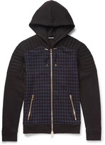 Balmain - Checked Cotton-jersey Hoodie