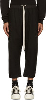 Rick Owens Black Wool Cropped Lounge Pants