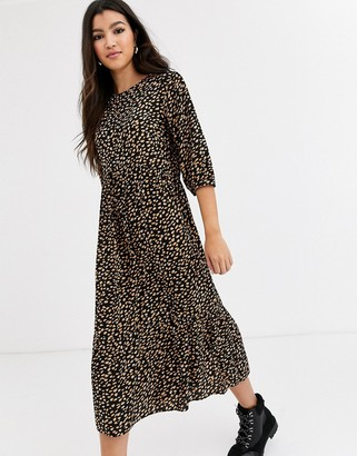 Nobody's Child volume sleeve midi dress with tiered skirt in scattered spot-Multi