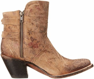 Lucchese Bootmaker Women's Catalina-Brown Floral Printed Shortie Ankle Bootie 6 B US
