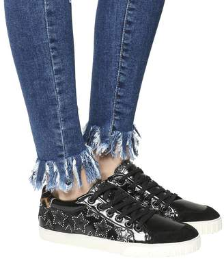 Ash Majestic Low Sneakers Black Leather Silver Stud