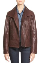 Bernardo Petite Women's Wing Collar Leather Moto Jacket