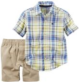 Carter's Baby Boy Button-Front Shirt & Solid Shorts Set
