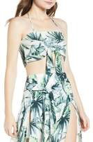 Somedays Lovin Palm Print Fringed Crop Top