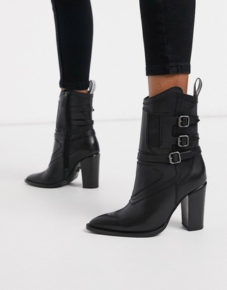 Bronx leather heeled ankle boots with buckle detail in black