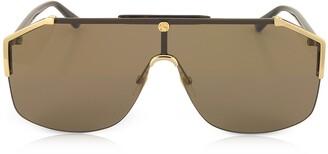 Gucci GG0291S Rectangular-frame Gold Metal Sunglasses