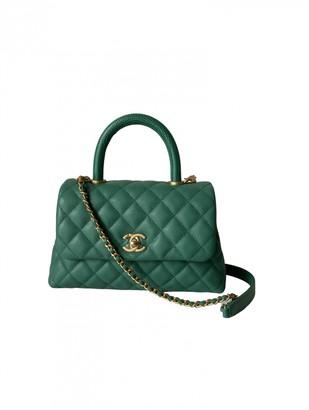 Chanel Coco Handle Green Leather Handbags