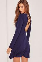 Missguided Blue Lattice Back Skater Dress