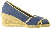 Lauren Ralph Lauren Cecilia II Espadrille Wedge Sandal Shoe - Navy/Gold Jersey Knit - Womens - 9.5