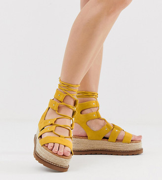 ASOS DESIGN Wide Fit Jive flatform espadrilles in yellow