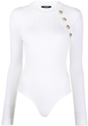 Balmain Button-Embellished Knitted Bodysuit