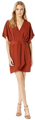 WAYF Sidony Wrap Dolman Mini Dress (Rust) Women's Dress