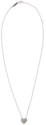 Suzanne Kalan 18kt White Gold Small Angel Diamond Heart Necklace