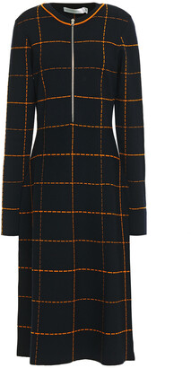 Victoria Beckham Checked Jacquard-knit Wool-blend Midi Dress