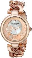 Akribos XXIV Women's AK643RG Lady Diamond Rose-Tone Dial Mesh and Chain Link Bracelet Watch
