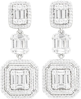 Overstock Gorgeous Triple Dangle Statement Dangle Earrings with elegant baguette and round CZ