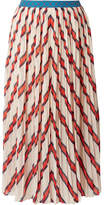 By Malene Birger Alvilamma Pleated Striped Chiffon Midi Skirt - Ecru