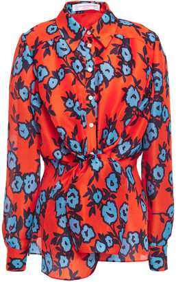Carolina Herrera Draped Printed Silk-organza Shirt