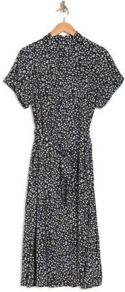 MelloDay Floral Print Button Down Dress