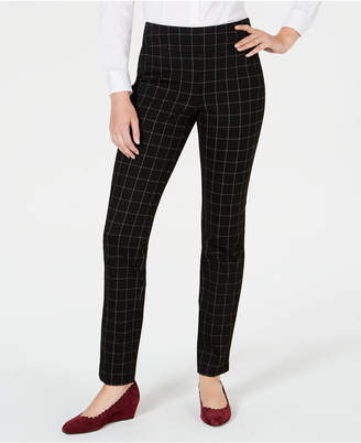 Charter Club Cambridge Windowpane-Print Slim-Leg Pants