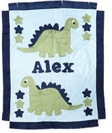 Boogie Baby Dino the Dinosaur Plush Blanket, Blue/Green