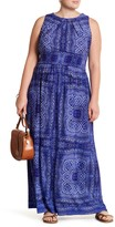 London Times Pleated Neck Maxi Dress (Plus Size)