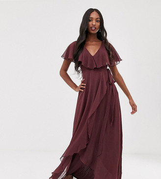 Asos Tall DESIGN Tall cape back dipped hem maxi dress-Purple