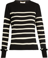 Muveil Lace underlay striped-knit sweater