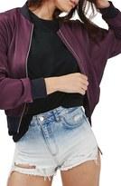 Topshop Women's Dolman Sleeve Satin Bomber Jacket