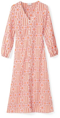 Phoebe Grace Matilda V-Neck Pull Sleeve Dress In Red Stripe Daisy