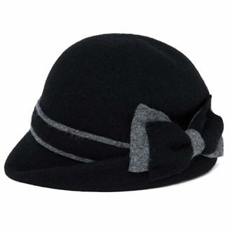 Jeff & Aimy Women Winter Wool Felt Cloche Hat Ladies 1920s Vintage Bowler Bucket Hat Warm Soft Black