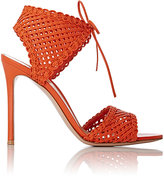Gianvito Rossi Women's Woven Leather Ankle-Tie Sandals-ORANGE