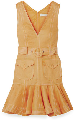Zimmermann Ruffled Belted Linen Mini Dress