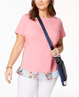 Tommy Hilfiger Plus Size Ruffled-Hem Top, Created for Macy's